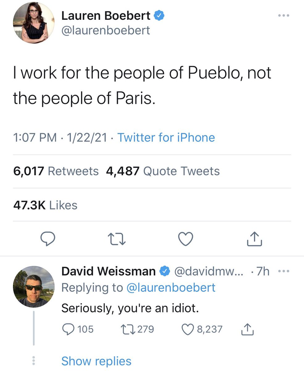 Ignorance like this should be impeachable. @laurenboebert  — put the Glock down and go back to school. @davidmweissman - Your reply 💯#ParisClimateAgreement