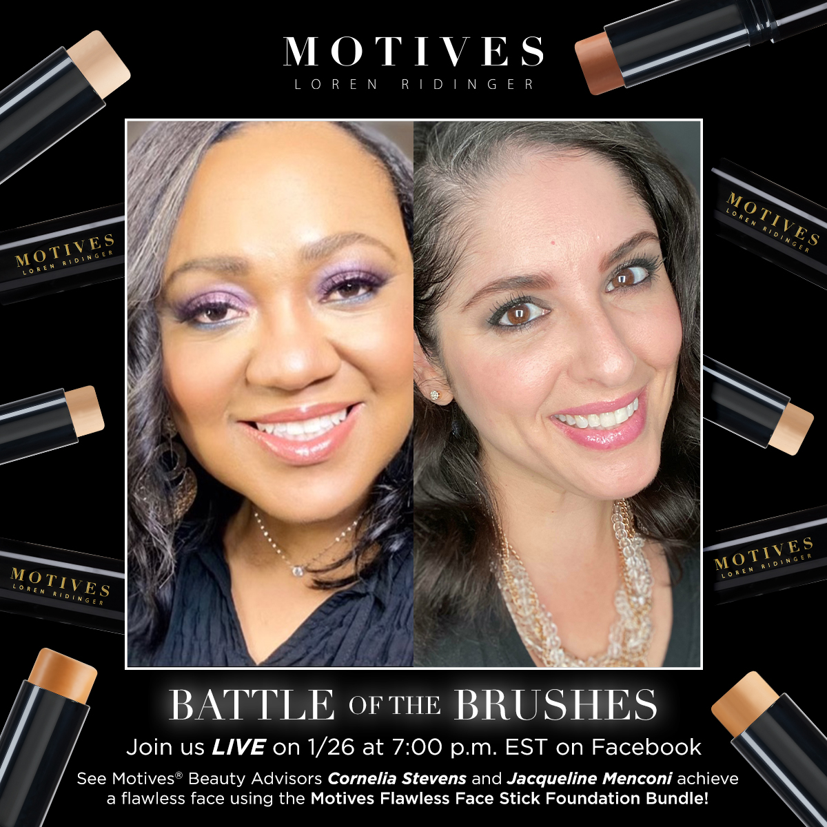Who wants tips to achieving a flawless looking foundation?  This Tuesday, we're going live on Facebook at 7PM EST as two of our  Beauty Advisors will share their pro tips on the topic while using the Flawless Face Stick Foundations. ✨  Get yours here:  🖤