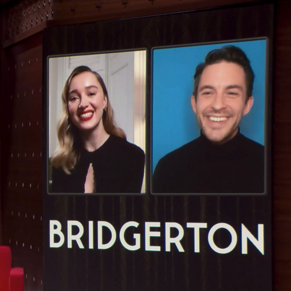 Phoebe Dynevor and Jonathan Bailey answer some burning Bridgerton questions on a new episode of The Netflix Afterparty