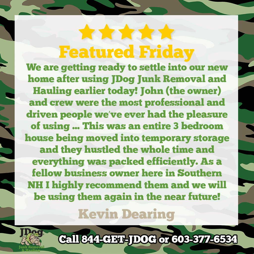 Kevin, thank you for the review. I'm glad you're happy with our services. Thank you for supporting a military veteran-owned business!  If you'd like a removal/hauling job done with Respect, Integrity, & Trust, contact us today!  #JDog #veteranowned #localbusiness #customerservice
