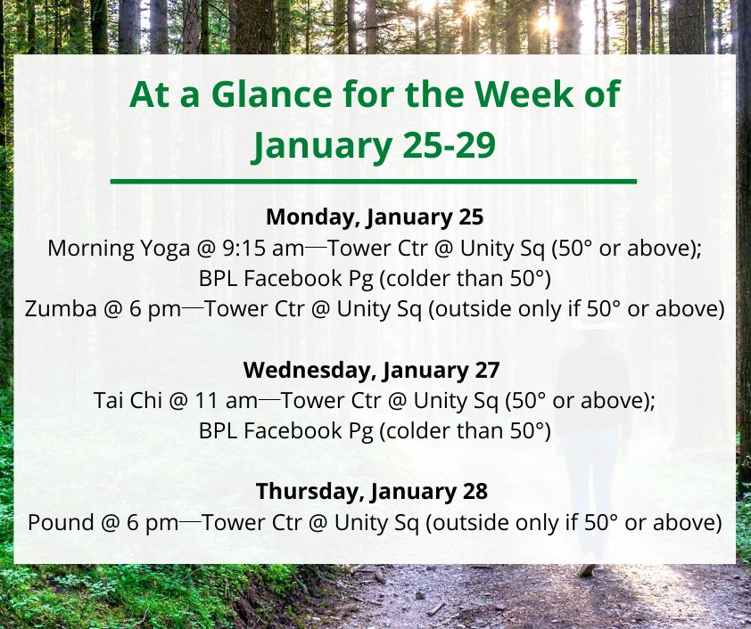 BPL's Health, Wellness & Fitness-Jan 25-29!#BPLHWF It is the 1st of the year & BPL can help with those New Year's resolutions! Enjoy an array of #fitness options!#yogaforbeginners #Zumba #TaiChi #Pound #exercise #MondayMood #Motivation #Wednesdayvibe #ThursdayThoughts #BPLVirtual