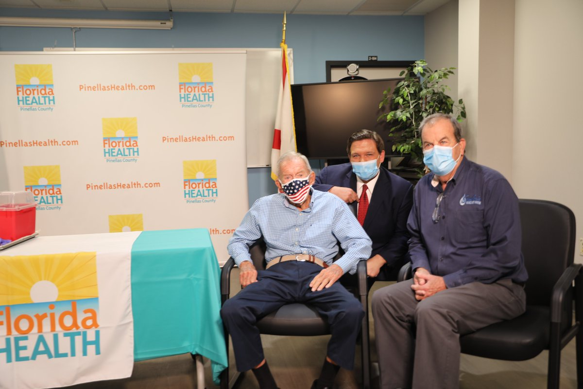 Such an incredible moment to watch a 100-year-old WWII veteran receive his vaccine today. I'll continue to put #SeniorsFirst as we work to vaccinate every Floridian 65+ who wants a vaccine.