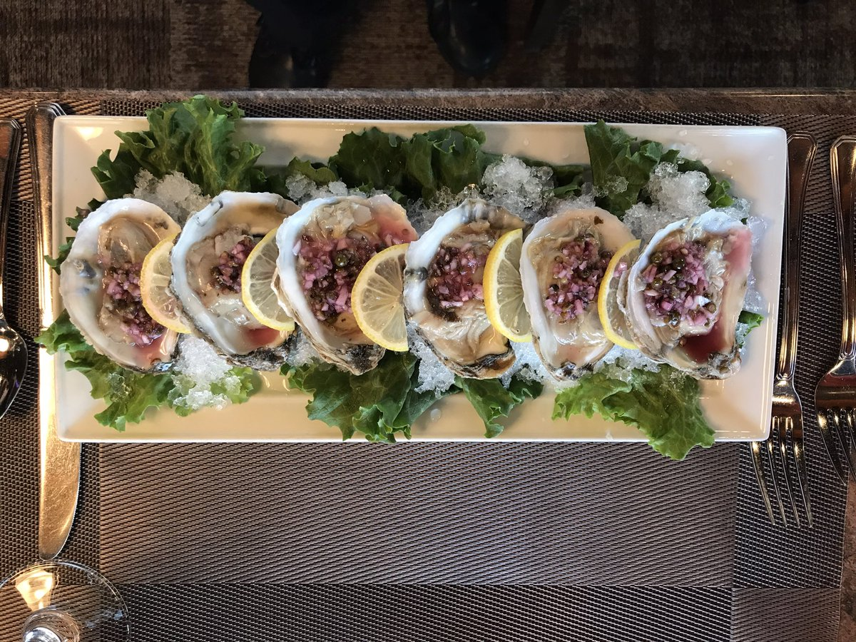 Tonight for our featured appetizer we have six blue point oysters finished with a hibiscus mignonette! #delicious #dinelocal