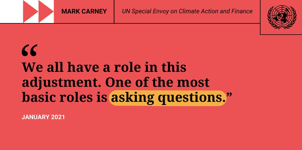 Don't assume that your bank or your politician cares about this issue as much as you do. They will, the more you raise it with them - and now is the time to raise it.  -- Mark Carney on how everyone has a role to play in taking #ClimateAction.
