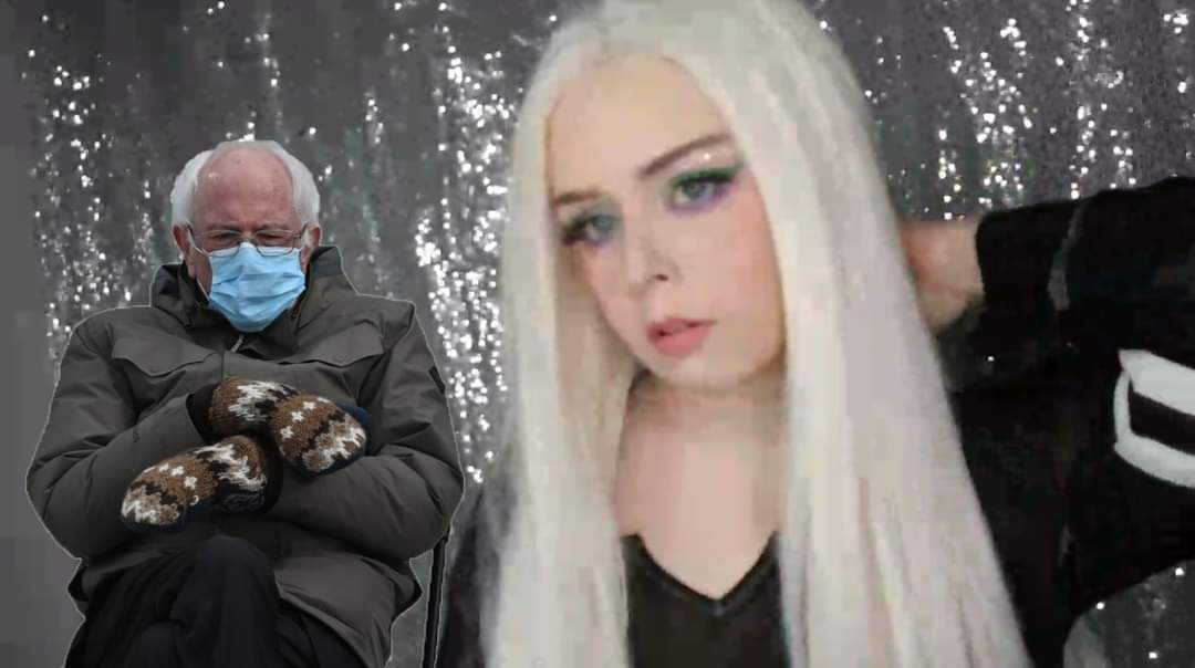 One of my viewers/patrons made this from today's stream! IM LOSING IT! I don't think he had Twitter but thanks, Brandon! 😂😂😂 #BernieSanders #berniesmittens #twitch #TwitchStreamers #makeup #BernieSandersmemes