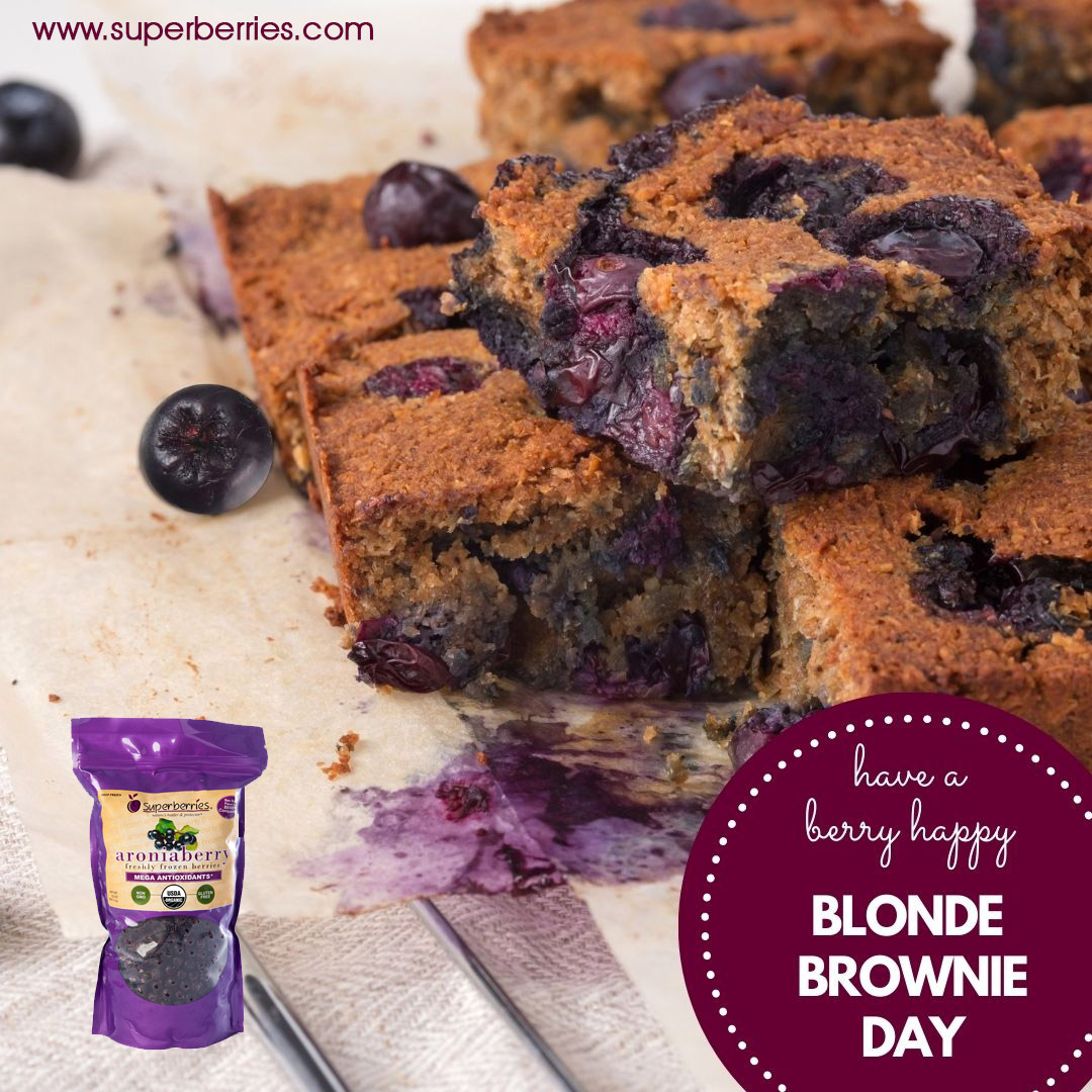 Wishing you a berry happy #BlondeBrownieDay.  If you don't know what Blonde Brownies are, just make your favorite brownie recipe and substitute brown sugar for the cocoa powder.  At #Superberries we took it one step further and added our #Aronia berries. https://t.co/CfyhHKehLr. https://t.co/Ii8WLWVY1s