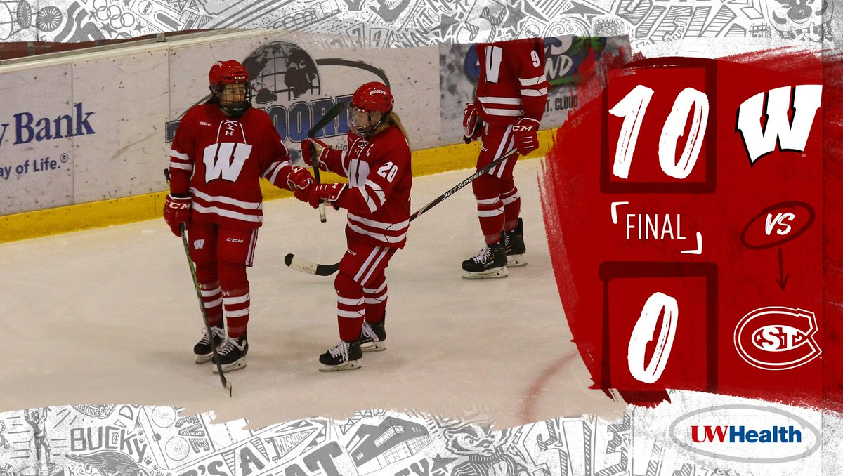 Two hat tricks and a shutout? You got it ✔️  The #Badgers came to play in St. Cloud ☁️  #OnWisconsin || #UWHealth