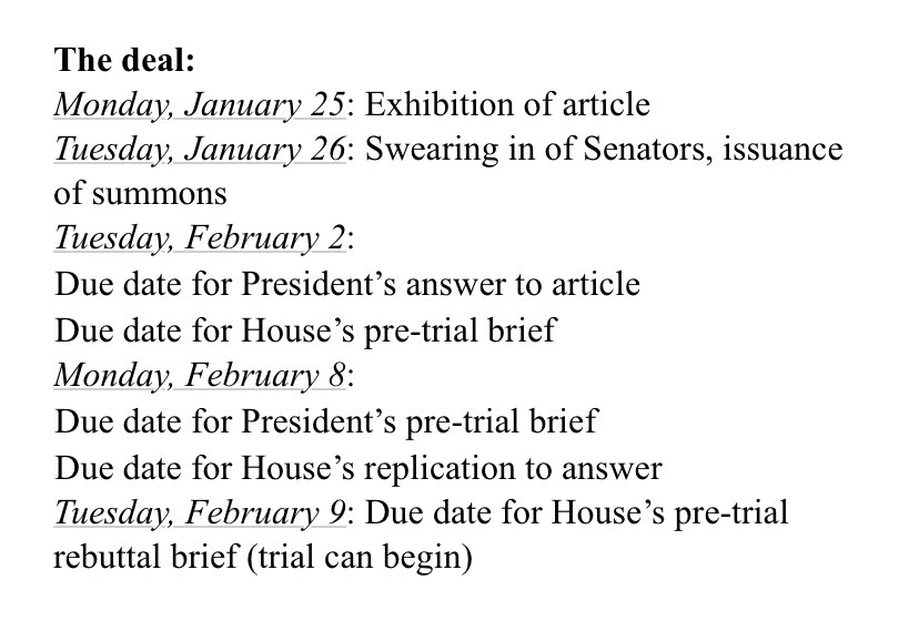 Here's the pre-trial schedule McConnell and Schumer agreed to, per a source familiar. https://t.co/rmxmV8LupF