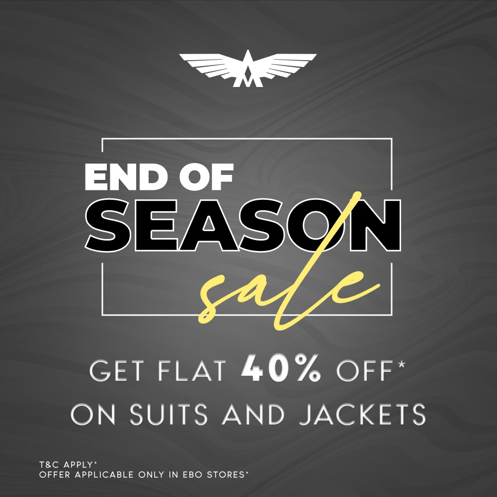 Your time has come to don a whole new and elegant look. Hit the nearest Park Avenue store and get flat 40% Off* on all suits and jackets. Hurry up! Offers valid from 22nd to 25th January. #ParkAvenue #EOSS #endofseasonsale #bestdeals #ebo #exclusivebrandoutlet #grabbeforeitsgone