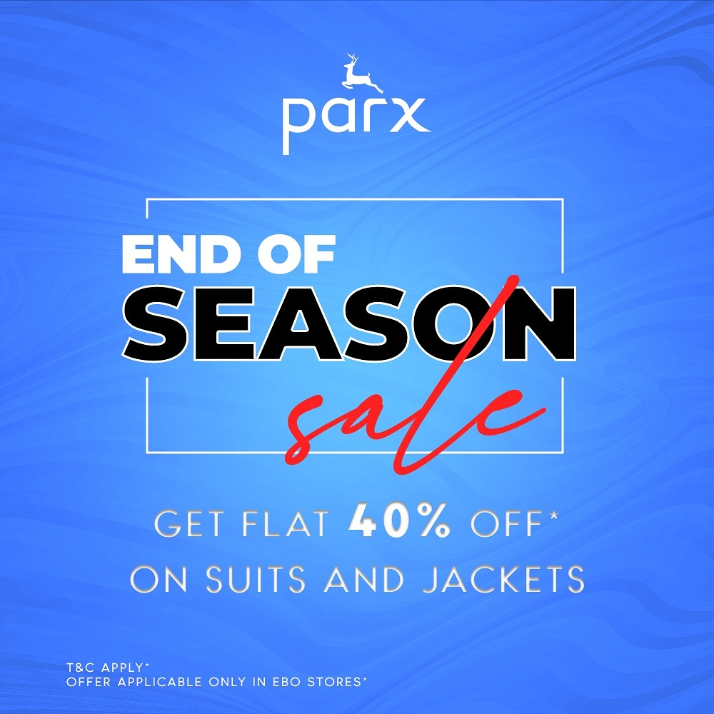 Are you ready to redefine your look? Walk into your nearest Parx store and get flat 40% Off* on all suits and jackets from 22nd to 25th January. Go grab yours now! #Parx #EOSS #endofseasonsale #bestdeals #ebo #exclusivebrandoutlet #grabbeforeitsgone #eossoffer #offer #limitedtime