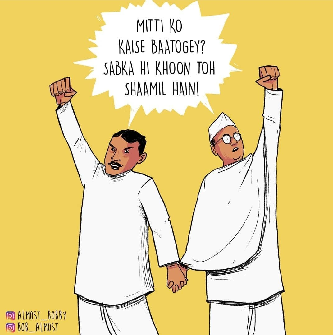 Hateful Communal people who'd pretend to be the biggest admirers of #Netaji today, please remember his association with Shah Nawaz Khan.  #NetajiJayanti Art by @bob_almost @Bobby_almost  Text from : Hum Kaagaz Nahi Dikhayenge by @varungrover