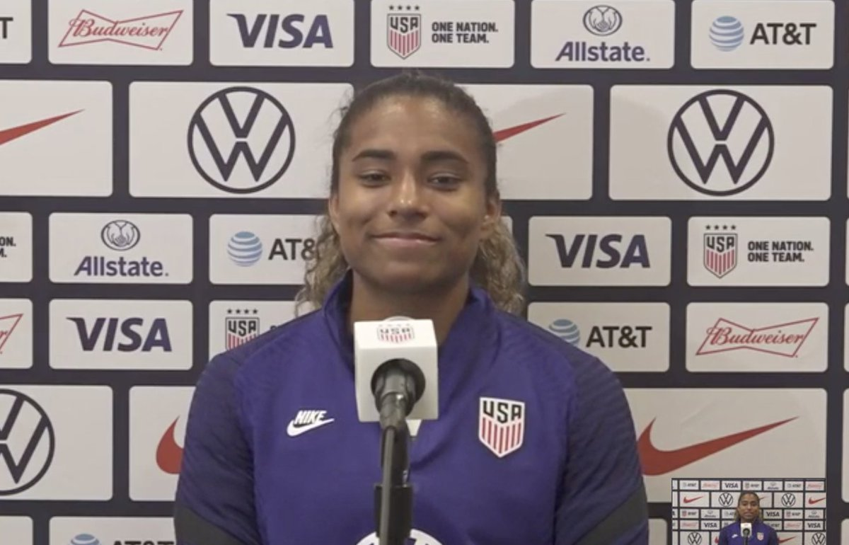 """I'm definitely living the American dream,"" says Catarina Macario after her 1st #USWNT goal. ""I don't have the words to describe how wonderful this was. I came here because the US is the land of opportunity. It was just a dream a little girl had when I was ten."" 🇺🇸@PatrickWelter"
