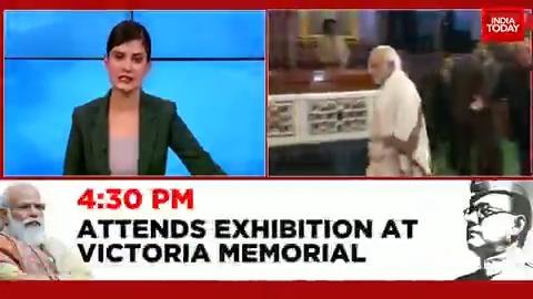 Prime Minister @narendramodi in #Kolkata today for Centre's mega tribute to honour #NetajiSubhasChandraBose on his 125th birth anniversary. (@PoulomiMSaha)  #ITVideo  #ParakramDivas