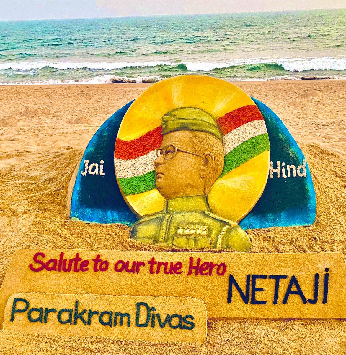 Tributes to the brave #NetajiSubhasChandraBose on #ParakramDivas My SandArt at Puri beach in Odisha.
