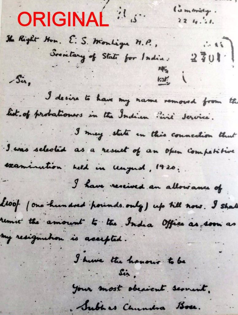On April 22, 1921 Subhash #Bose resigned from Indian Civil Service to participate in Freedom struggle. For a greater cause.   He was 24 years old then. Became first Indian to resign also. He served motherland till his last breath after that. Tribute on his birth anniversary.