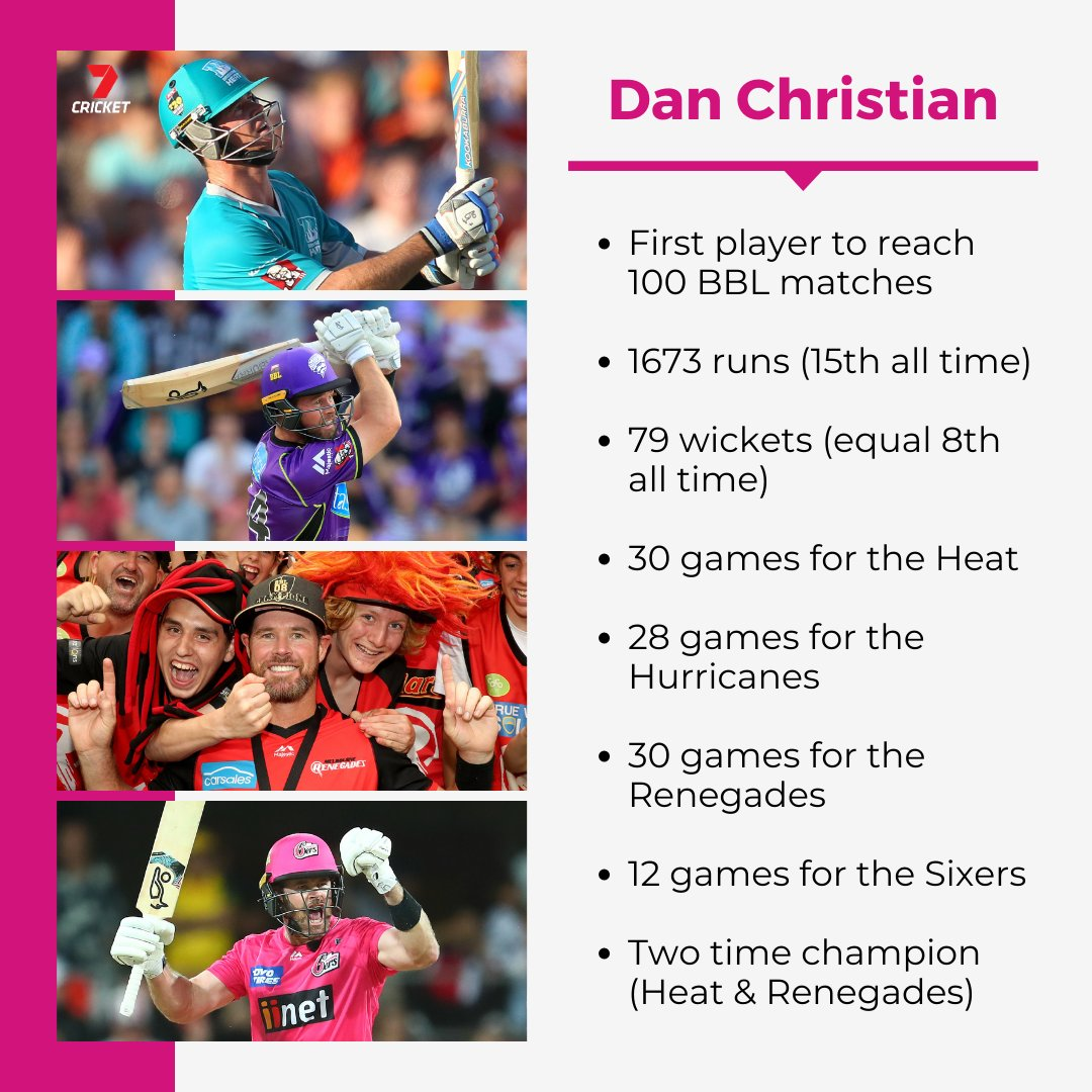 The first player to reach 100 BBL games, Dan Christian 🙌 #BBL10