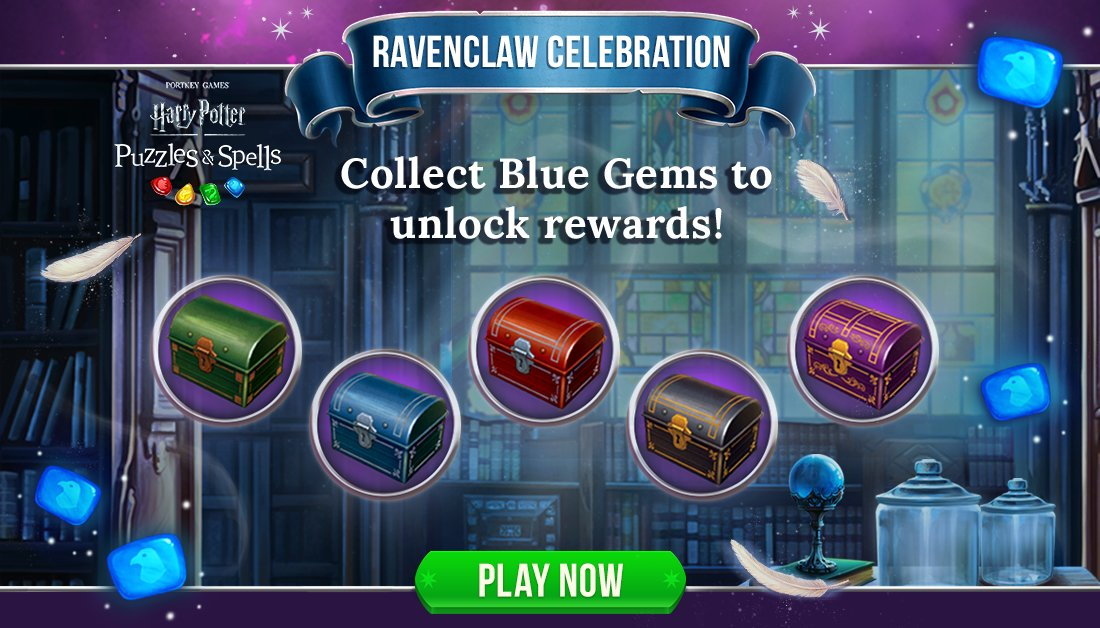 Collect Blue Gems during #RavenclawCelebration to open as many chests as you can while the event is active!  Collect Blue Gems NOW ➡️   #HarryPotterPuzzlesAndSpells #Match3 #Ravenclaw