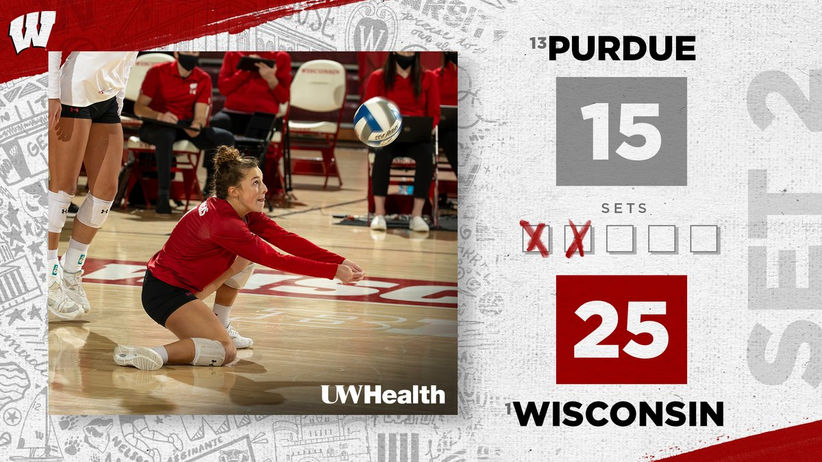 @laurenbarnes_2 has a game-high 6️⃣ digs as the #Badgers rally into the third  #OnWisconsin