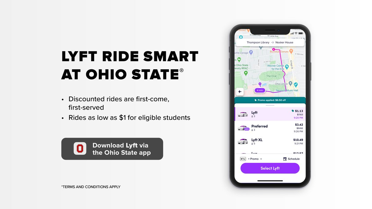 Let's ride smart #buckeyes with Lyft Ride Smart at Ohio State! The program offers eligible students discounted rides, inside the designated service area, from 9 p.m. to 7 a.m.