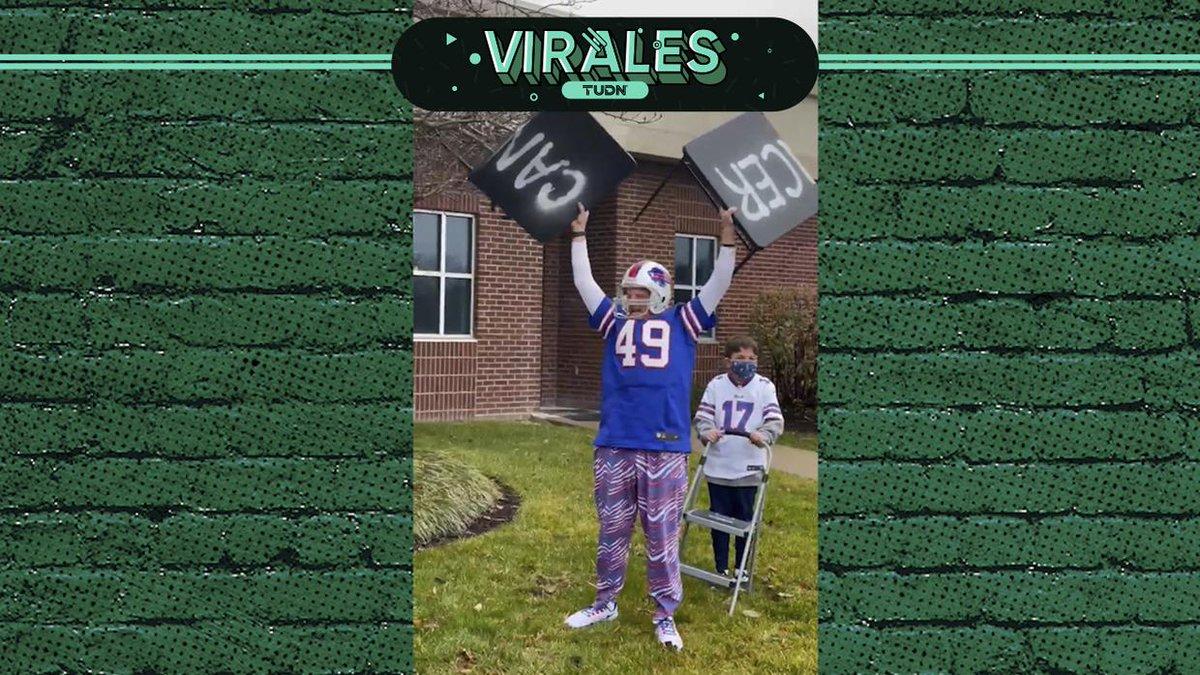 Celebra al estilo 'Bills Mafia' tras superar cáncer 🙌 🤩  #BillsMafia I #Virales I #NFL