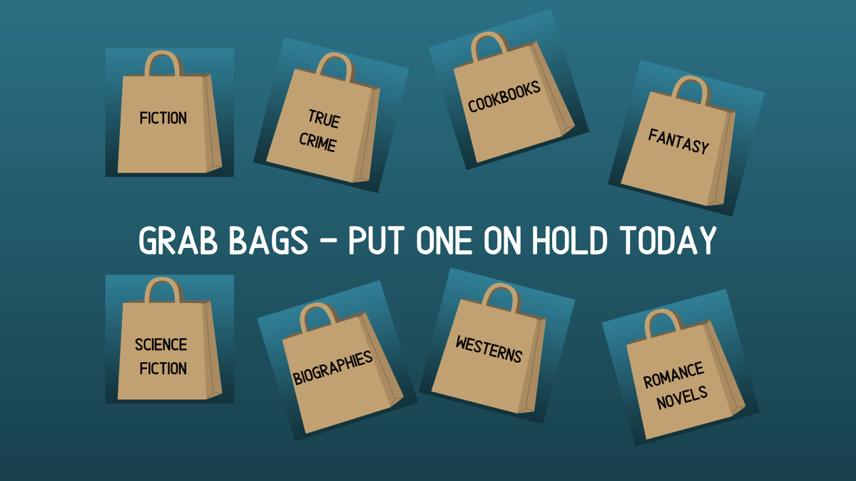 Now offering Grab Bags, in fourteen genres!!  Check our catalog for details!     #GrabBags #Fantasy #Fiction #Romance #Westerns #Biographies #Cookbooks #SCIENCEandNATURE #SciFi #ScienceFiction #TrueCrime #WWII #Mystery #UShistory #Playaways #Crafts