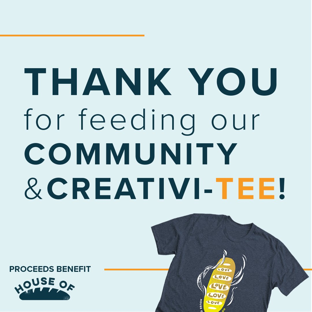 We're proud to share that we raised a total of $1,332.59 and sold 132 shirts during our #GivingTuesday campaign! All proceeds go to @houseofbread365 right here in Dayton, Ohio. Thanks for being so suppor-teeve!   #FeedYourCreativiTee #🎨