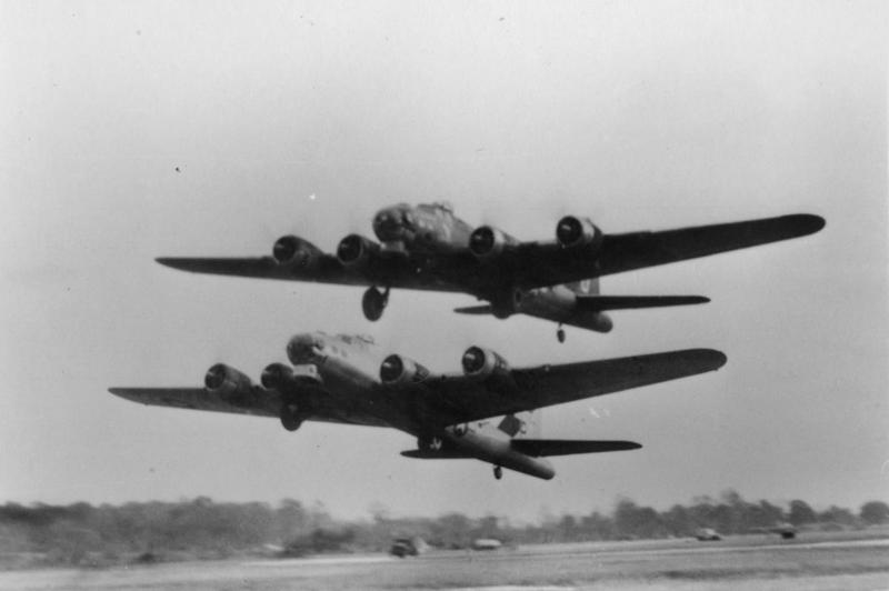 I have the smartest and most interesting followers in the world and appreciate your interest in #WWII history.  Thanks for the notifications, likes and RTs, comments, and corrections. Below,  two 457th  Bomb Group B-17s take off from Glatton airbase. FRE 8359  #WWII