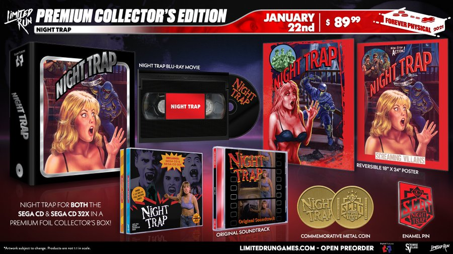 A deluxe 4-disc release of the cult classic horror favorite, Night Trap, is available right now at . This beautiful premium box contains both the Sega CD & 32X releases of the game.  This will only be available to order for four weeks - don't miss out!