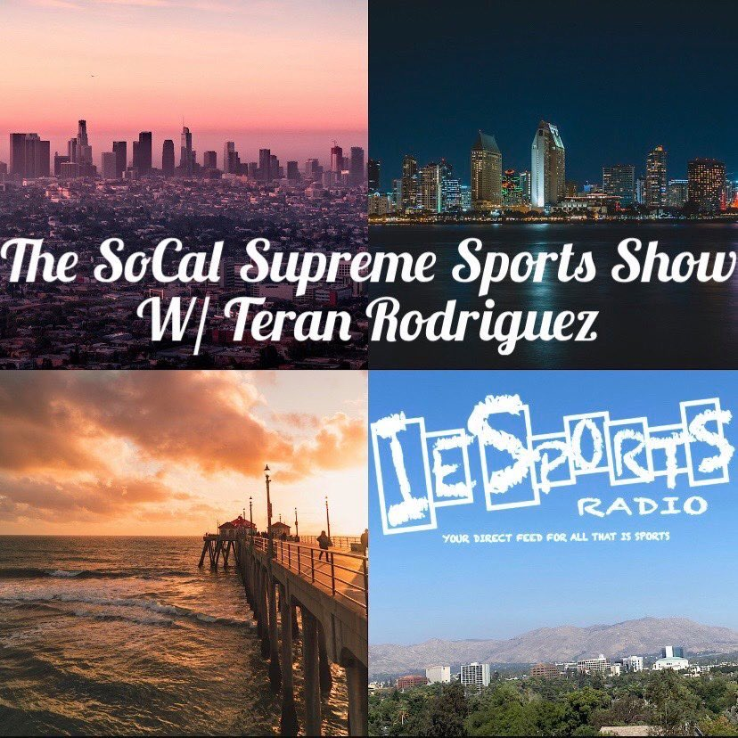 Tune in live for #TheSoCalSupremeSportsShow with @TeranRodriguez1! #NFL #RamsHouse #BoltUp #BrandonStaley #NBA #LakeShow #ClipperNation #NHL #FlyTogether #GoKingsGo #MLSSuperDraft #LAFC #LAGalaxy #CollegeBasketball #CollegeWaterPolo @SoCalShowIESR