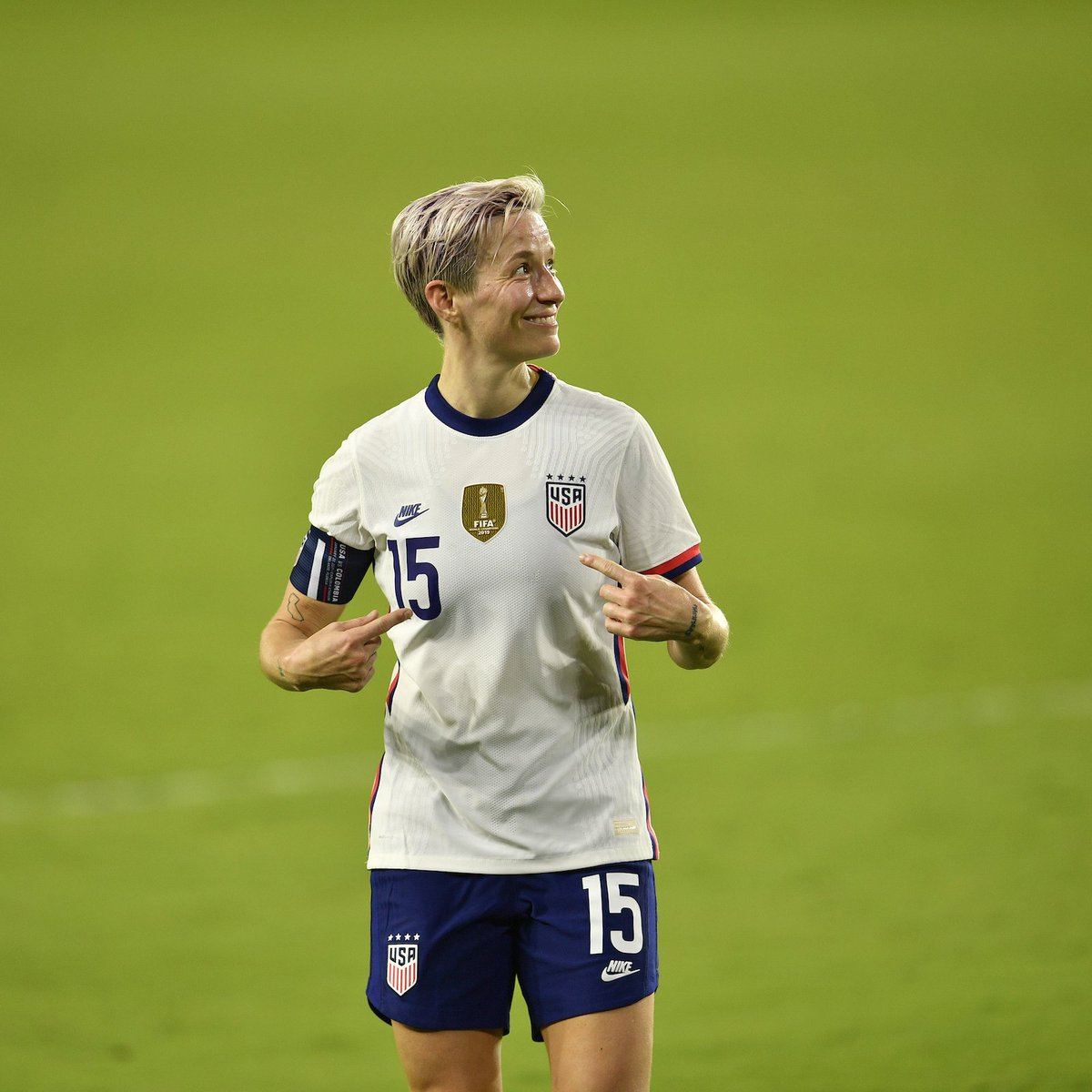 Who? Me?!! 😁  @mPinoe with her first multi-goal performance since *that* game against France.