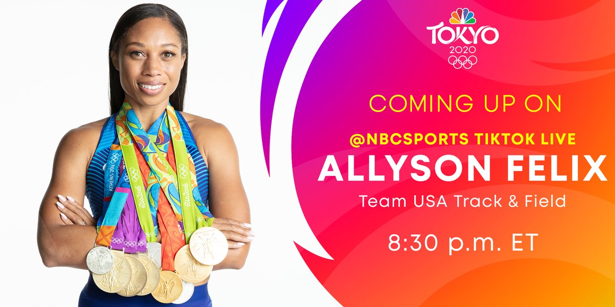 Get to know one of the stars of @TeamUSA! ⭐️  Join 9-time Olympic medalist @allysonfelix LIVE over on @NBCSports' TikTok TONIGHT: