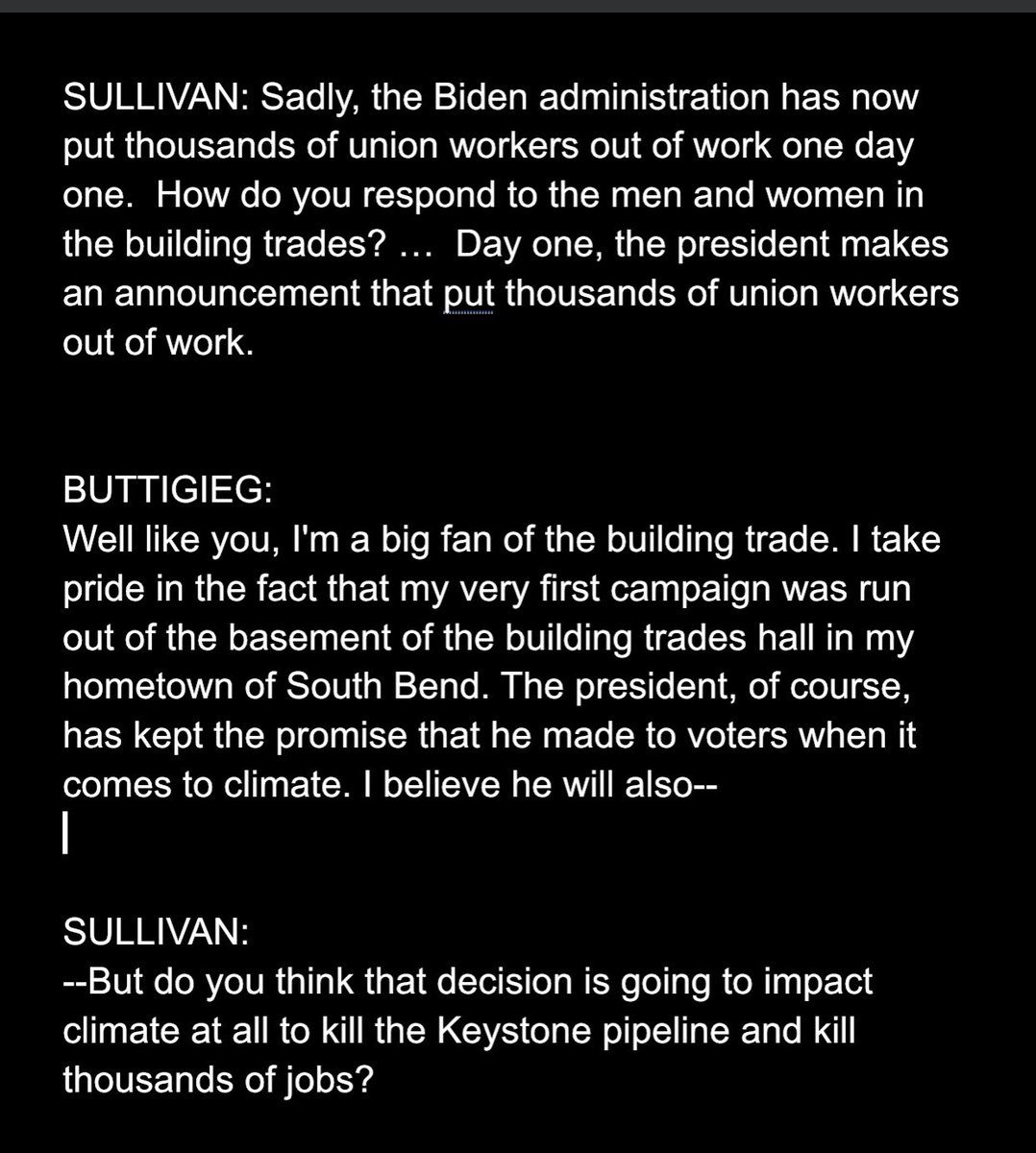 Someone did today publicly and vocally press the Biden administration on its KXL decision: U.S. Republicans. Here's an exchange at Pete Buttigieg's Senate confirmation hearing for transportation secretary. The questioner is Republican Sen. Dan Sullivan of Alaska.
