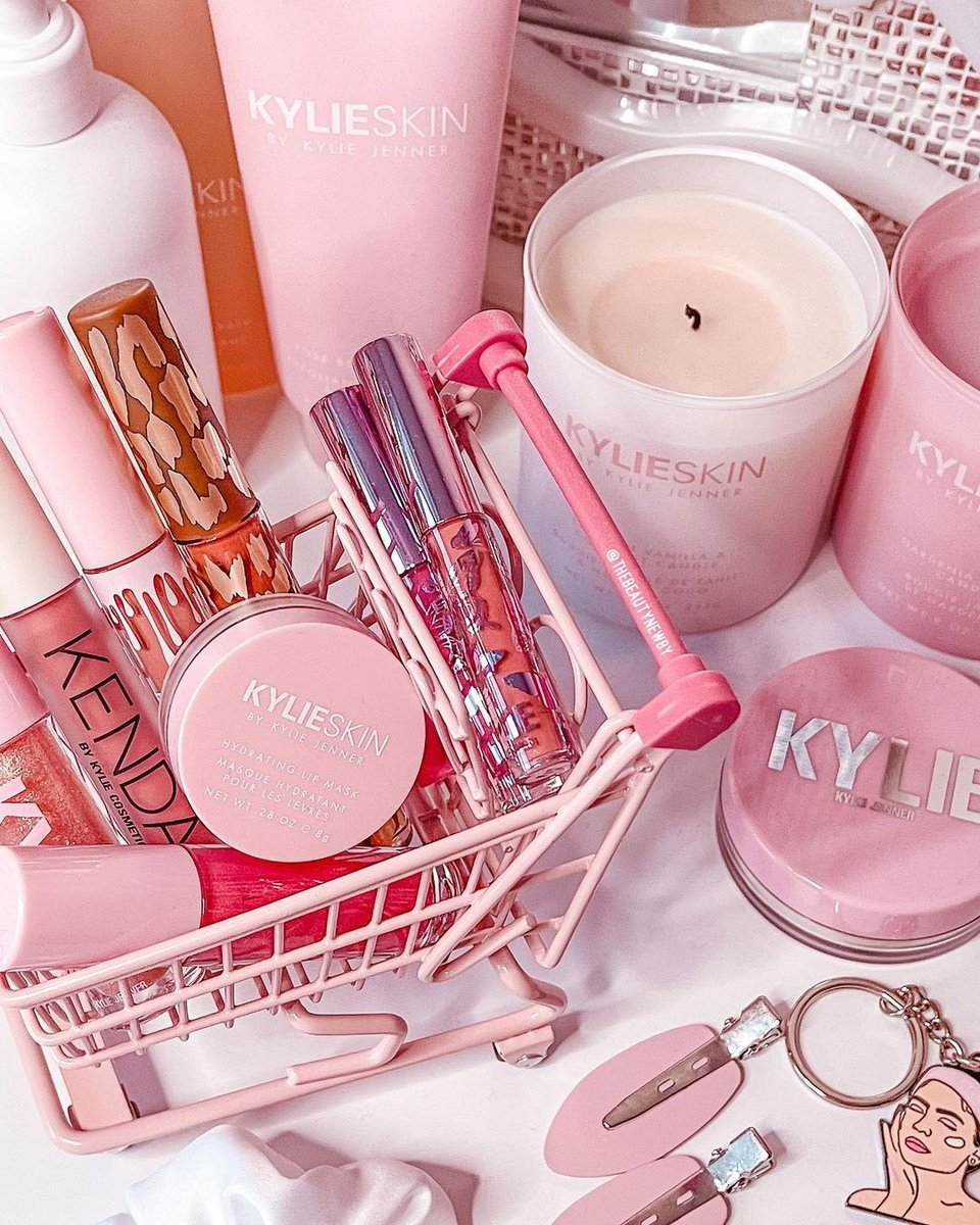 gorgeous shot of some of our favorite @kylieskin and kylie cosmetics goodies by @thebeautynewby 😍💕