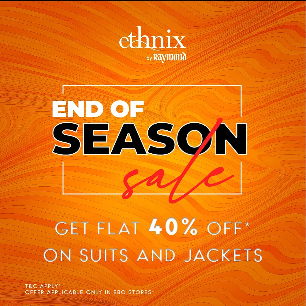 It's time to take pride in your ethnicity with a discerning regal look. Get Suits and jackets at flat 40% Off* from 22nd Jan to 25th Jan. Offer valid for in-store purchases only. #Ethnix #EOSS #endofseasonsale #bestdeals #ebo #exclusivebrandoutlet #grabbeforeitsgone #eossoffer
