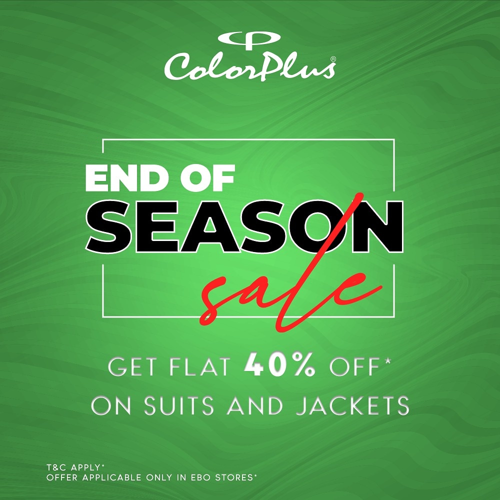 Seize the day dressed in flattering vivid colours from our vibrant collection of suits and jackets for the season. Enjoy flat 40% Off* across all Colour Plus stores! Offer valid from 22 Jan to 25th Jan, hurry! #ColorPlus #EOSS #endofseasonsale #bestdeals #ebo #sale #offer