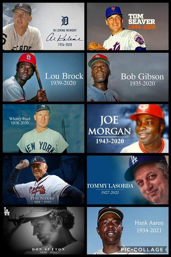 Tough time period for @MLB as we have lost a lot of legends. Rest peace to these amazing guys and prayers to all their families  #MLB #RIPHankAaron #RIPDonSutton #RIPTomSeaver #RIPLouBrock #RIPBobGibson #RIPWhiteyFord #RIPJoeMorgan #RIPPhilNiekro #riptommylasorda #RIPAlKaline