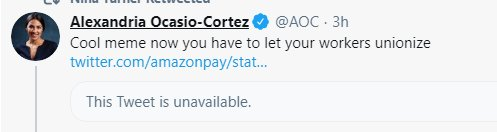 Replying to @johniadarola: Well @AOC just defeated Amazon, which is a nice way to end a week.