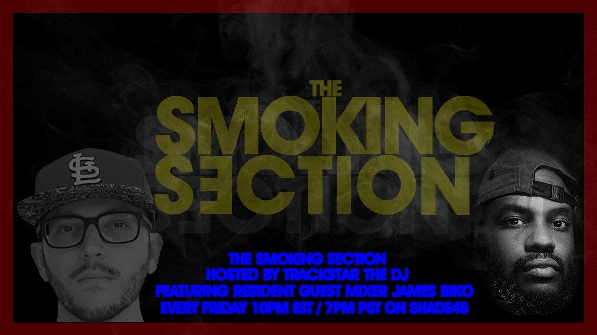 Tonight on The #SmokingSection 10pmEST on @Shade45 ft @ibejamesbiko :  @Alchemist @theCoolxKids @realshortyk  @JoeyFatts @BGPerico @NanaisKing_ @2chainz @KillerMike @AllanKingdom @WireFang @_ROCKNESS_ @mondieumusic @machhommy @SENSEIAPEX   Playlist at