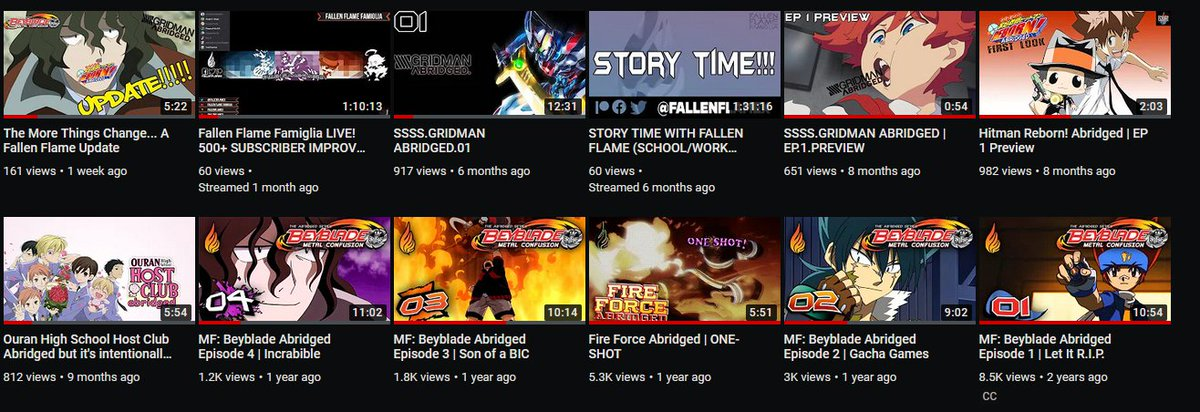 Updated thumbnails for Beyblade Abridged and Fire Force (One Shot) courtesy of @TechKon1! Looks great!