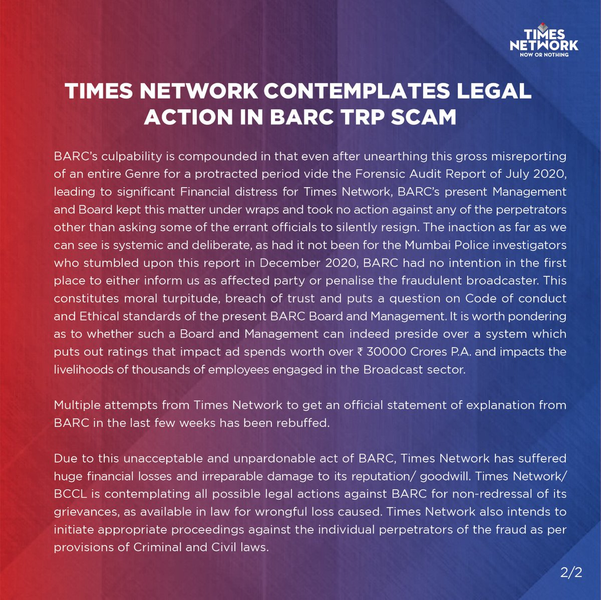 .@TimesNetwork contemplates legal action in @BARCIndia TRP scam.