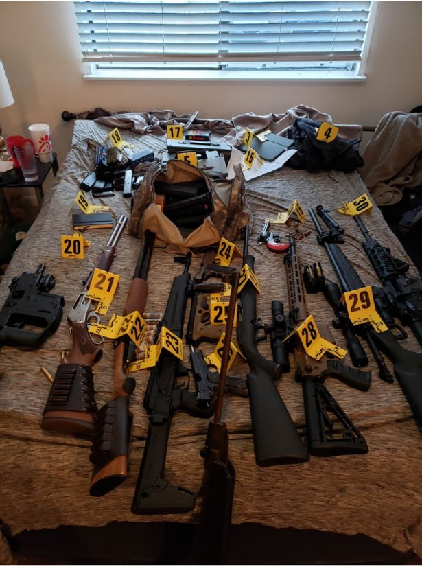 This is what the FBI found in zip-tie guy's house.   Judge released him on bond today , ruling that he had shown respect for the law enforcement and wouldn't pose a threat.