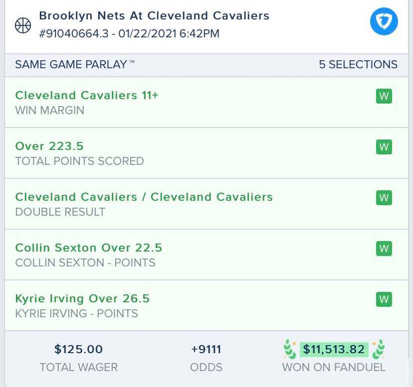 $125 ➡️ $11,513.82 💰  This bettor was crazy enough to bet the Cavs winning margin 11+ in a #SameGameParlay... AND IT HIT 🙏  (via @j2110_)