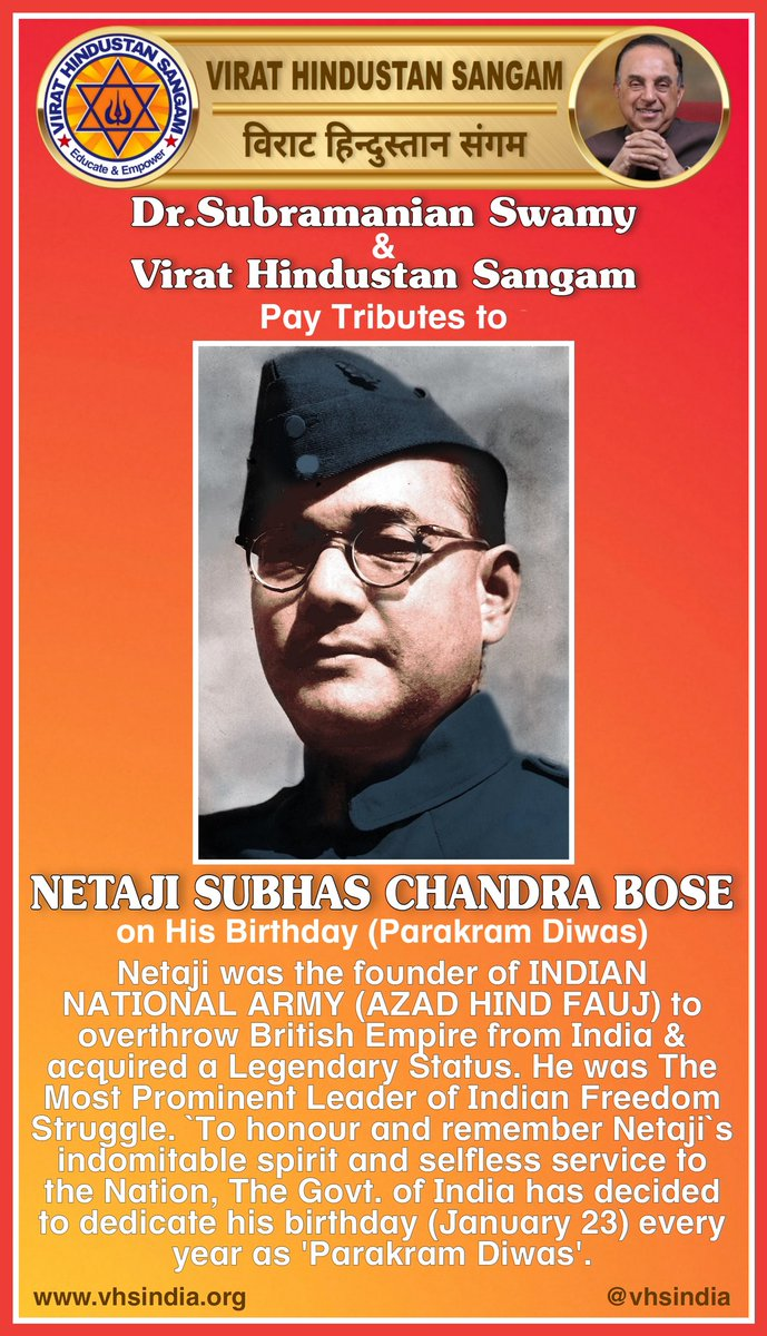 Dr.Subramanian @Swamy39 & Virat Hindustan Sangam @vhsindia Pay Tributes to NETAJI SUBHAS CHANDRA BOSE on His Birthday for his selfless service to the Nation. This day (23rd January) is celebrated as PARAKRAM DIWAS in Netaji's remembrance.  @jagdishshetty @rameshnswamy