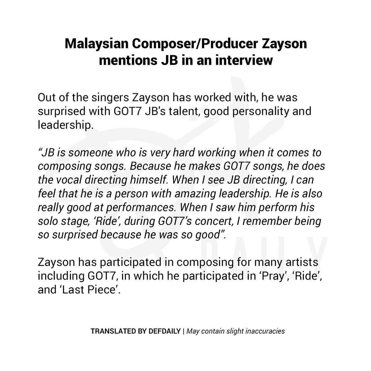 210123 Malaysian Composer/Producer Zayson mentions JB in an interview     #JAEBEOM #재범 #JB #JAYB #제이비 @JAYBDEF___ #DEF #데프 #ØFFSHORE