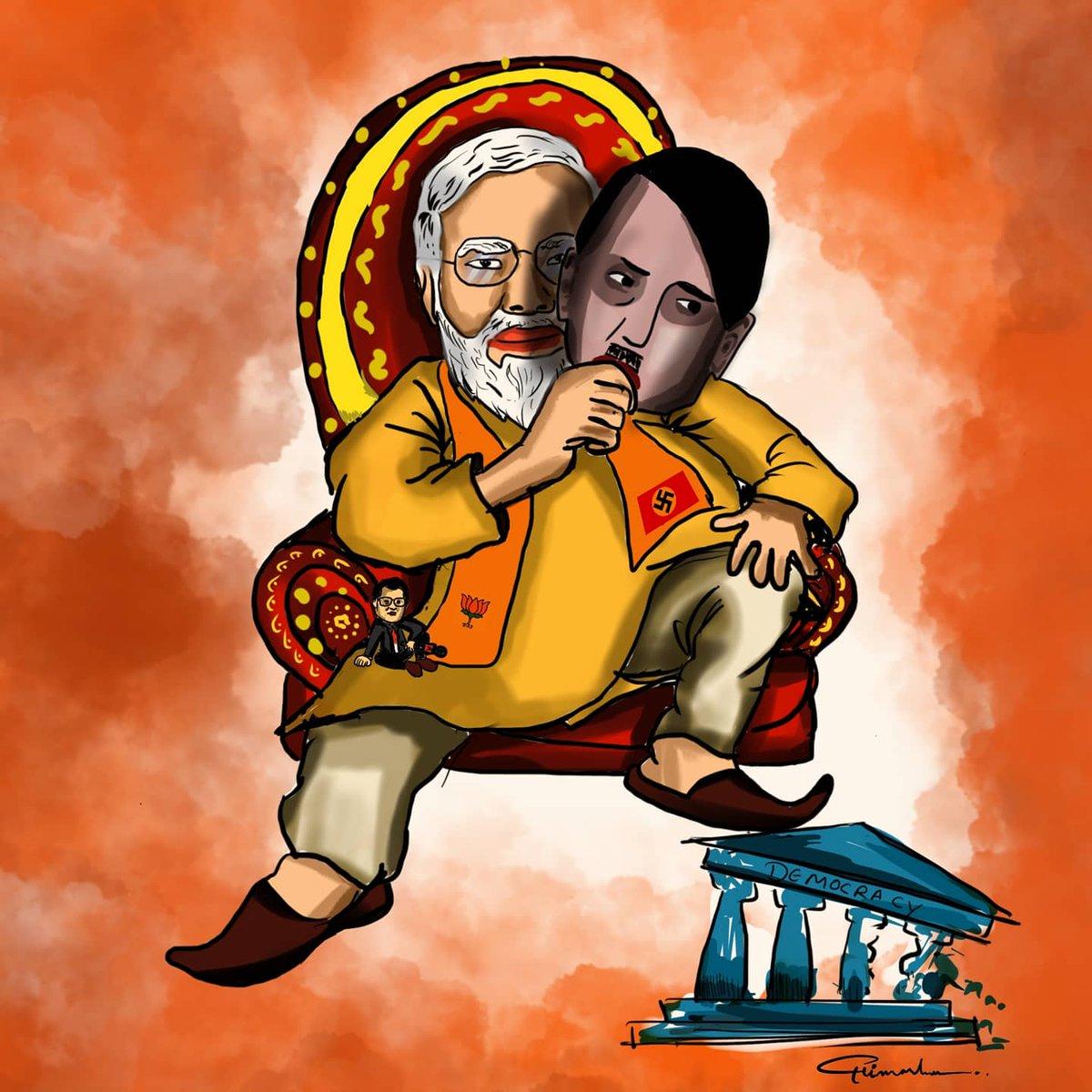 My little illustration about our dictator @Troll_Modi @Kisanektamorcha @TheDeshBhakt @satishacharya @kunalkamra88 #26JanDelhiChalo #JaiJawanJaiKissan #TractorRally