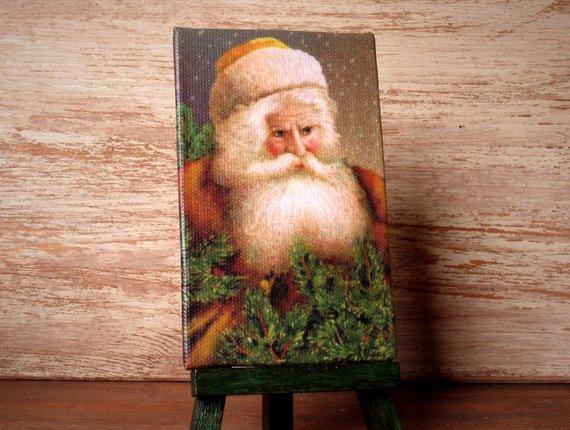 "Miniature #Christmas Canvas ""Vintage Santa Claus"" for Your Dollhouse -   #christmas"
