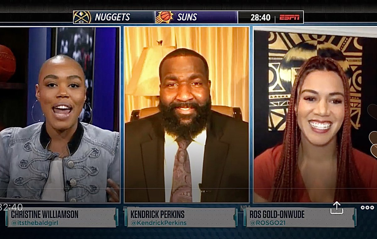 Not a bad way to spend a friday night! Breaking down @NBA hoops, talking Suns Nuggets w/ Big @KendrickPerkins (carry on) & my giiiiiirrrlll @itsthebaldgirl on #Hoopstreams! 🏀🤓 @EspnNBA https://t.co/VC7MeeRtY0