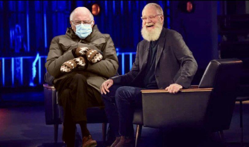 @Letterman @netflix #mynextguestneedsnointroduction #BernieSanders #BernieSandersMittens #berniesmittens