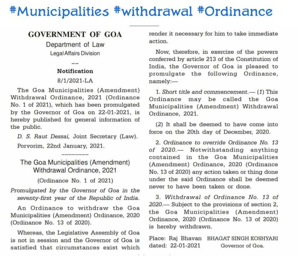 Ordinance issued has been withdrawn.  In conclusion it only reveals @DrPramodPSawant has no clue about administration and has no vision for Goa.