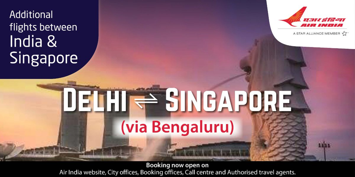 #FlyAI : Air India will operate additional flights between India and Singapore.  Delhi - Bengaluru - Singapore - Bengaluru - Delhi.   Booking open on Air India website, Booking Offices , Call Centre and Authorised Travel Agents.